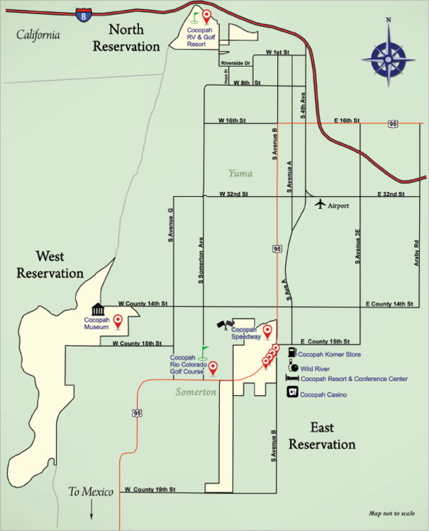 Contact Us Cocopah Indian Tribe - Us indian reservation map